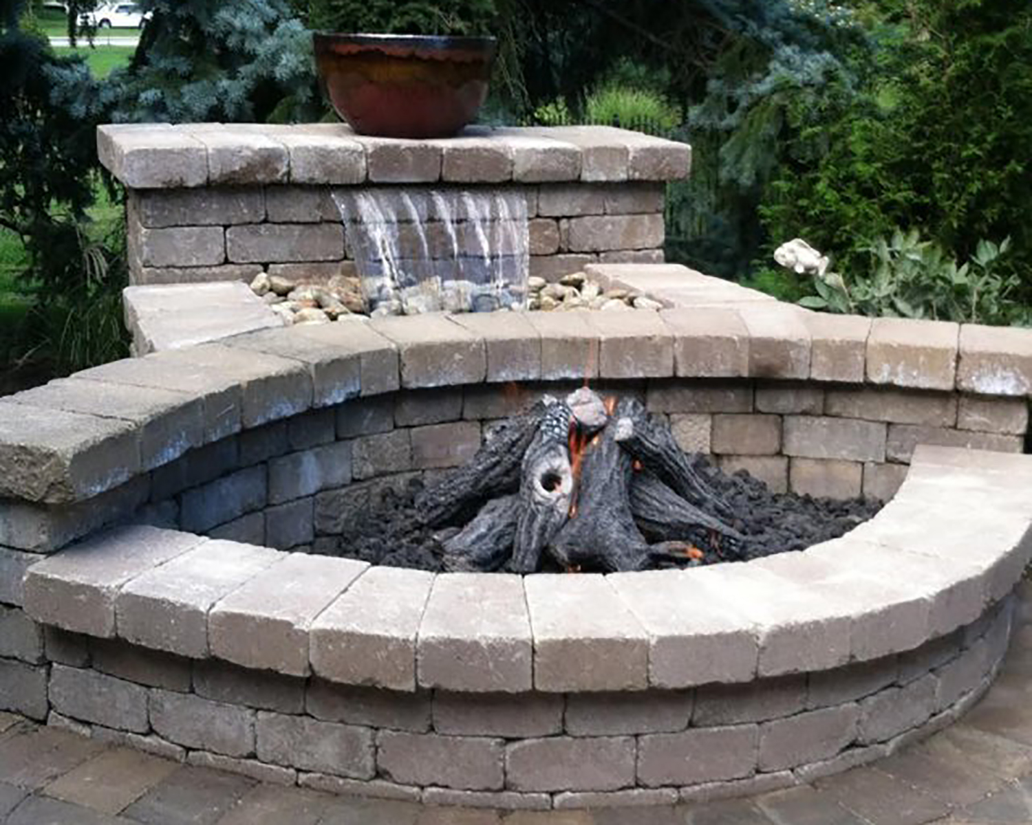 custom gas fire pit with logs