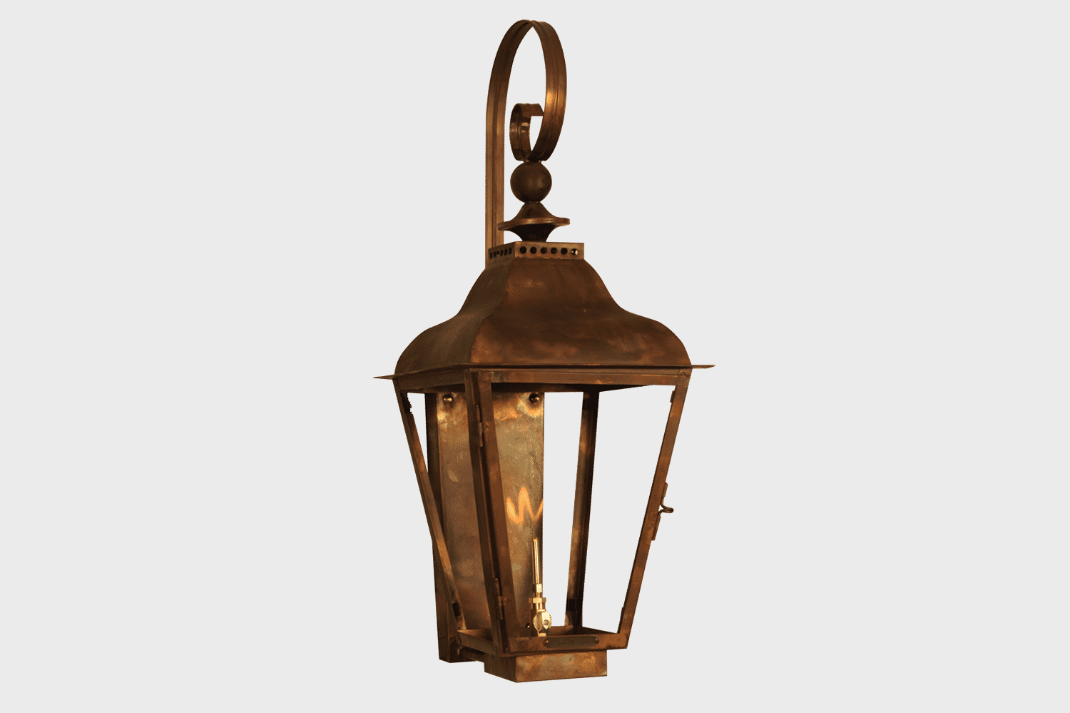 hanging copper gas lamp